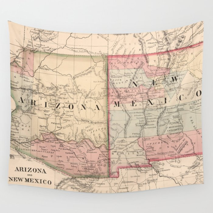 Vintage New Mexico and Arizona Map (1868) Wall Tapestry by bravuramedia