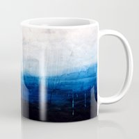 ombre Mugs featuring All good things are wild and free - Ocean Ombre Painting by Prelude Posters
