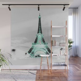 pariS Black & White + Mint Wall Mural