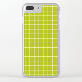 Acid Green - Green Color - White Lines Grid Pattern Clear iPhone Case