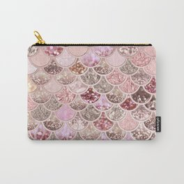 Rose Gold Blush Glitter Ombre Mermaid Scales Pattern Carry-All Pouch