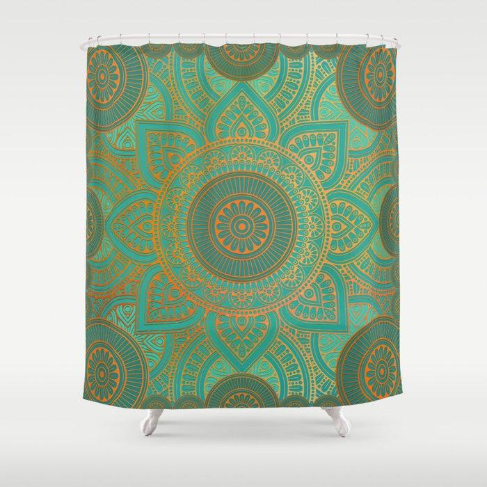 Sea Turquoise Pattern Mandala Teal Gold Shower Curtain