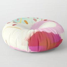 pink circle abstract dots dancing polka in rain Floor Pillow