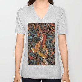 dry brown leaves and dry tree branches on the ground Unisex V-Neck