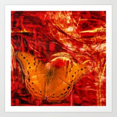 Butterfly in red universe Art Print