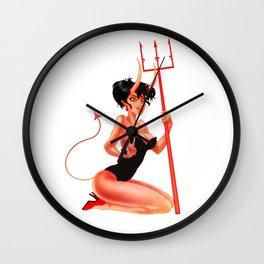 Retro Pinup Devil Girl Wall Clock