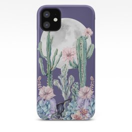 Desert Cactus Full Moon Succulent Garden on Purple iPhone Case