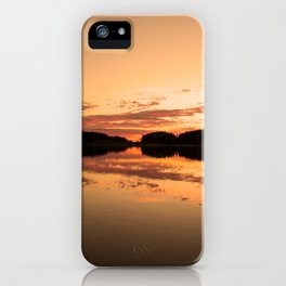 Beautiful sunset - glowing orange - forest silhouette and reflection iPhone Case