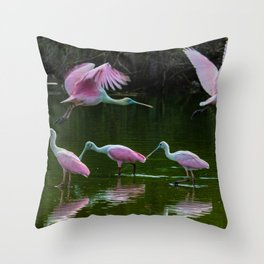 Spoonbill Cranes Throw Pillow