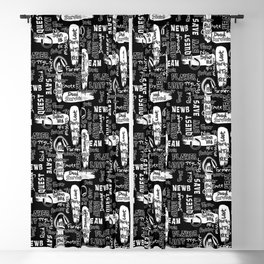 Gamer Lingo-Black and White Blackout Curtain
