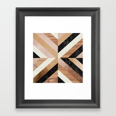 Copper Marble Wood Framed Art Print