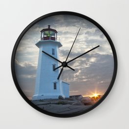 Sunrise at Peggys Cove Lighthouse in Nova Scotia Wall Clock