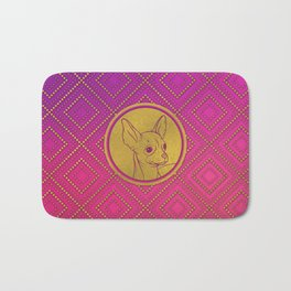 Golden Embossed Chihuahua on pink /purple Bath Mat