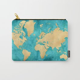"Teal watercolor and gold world map with countries and states ""Lexy"" Carry-All Pouch"
