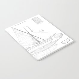 Vintage black & white sailboat blueprint drawing antique nautical beach or lake house preppy decor Notebook