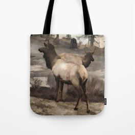 Young Elk Bucks   -  Banff Alberta Tote Bag
