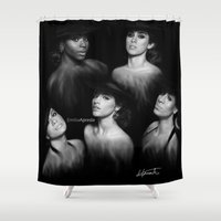fifth harmony Shower Curtains featuring Fifth Harmony 'Reflection' Digital Painting by Emilia Apreda