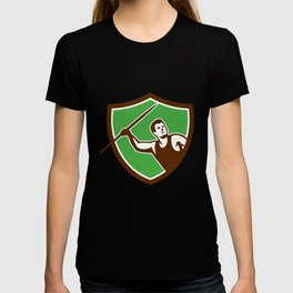 Javelin Throw Track and Field Athlete Shield T-shirt
