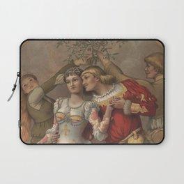 Vintage Christmas Romance Under The Mistletoe (1886) Laptop Sleeve