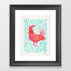 Le Coq – Watercolor Rooster with Mint Leaves Framed Art Print
