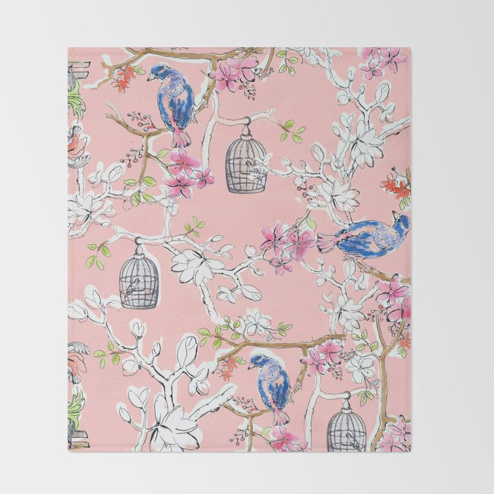 Victorian Birds garden Throw Blanket