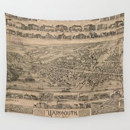 Vintage Pictorial Map of Yarmouth Nova Scotia (1889) Wall Tapestry