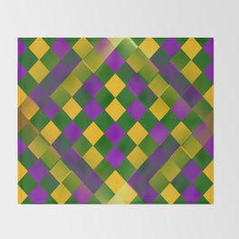 Harlequin Mardi Gras pattern Throw Blanket