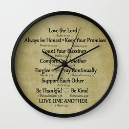 Christian Faith Family Rules w/Scripture Reference Wall Clock
