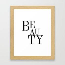 Beauty Word, Beauty Text, Beauty Typography Framed Art Print