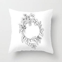 White Floral Circle Throw Pillow