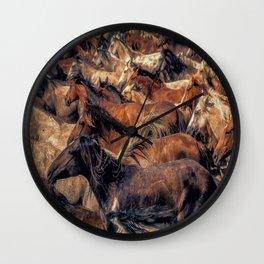 Wild horses. Wall Clock