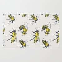 bees Area & Throw Rugs featuring Bees by Tracie Andrews