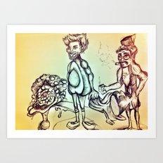 Avocado and Gun Man Brain land Art Print