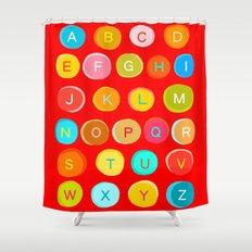 Red Alphabet Shower Curtain