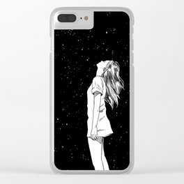 girl and the starry sky Clear iPhone Case