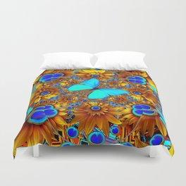 BLUE & GOLD ART DECO BUTTERFLIES & FLOWERS VIGNETTE Duvet Cover