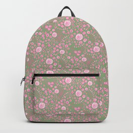 Abstract pink garden pattern in light green background Backpack