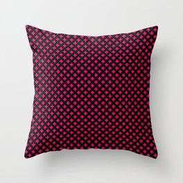 Small Hot Neon Pink Crosses on Black Throw Pillow