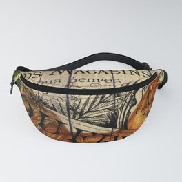 vintage typography barn wood shabby french country poulet chicken rooster Fanny Pack