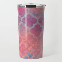 Layered Patterns - Pink, Coral & Turquoise Travel Mug