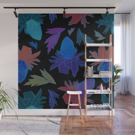 Tropical Ginger Plants in Moody Blues + Black Wall Mural