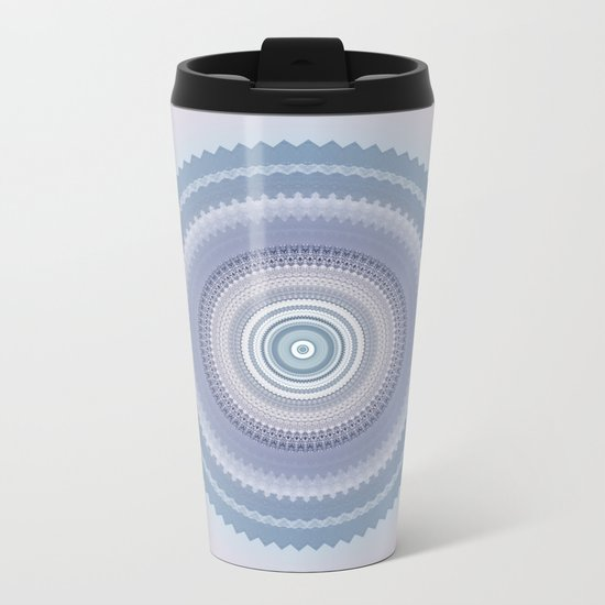 Inspirational Mandala in soft pastel colors of blue and lilac Metal Travel Mug