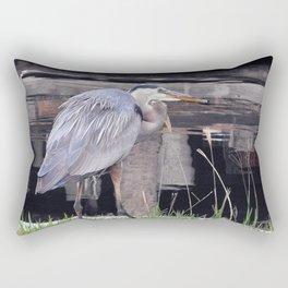 Great Blue Heron Waiting Rectangular Pillow