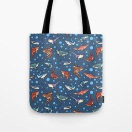 Sharks in the dark blue Tote Bag