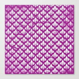 Vintage abstract pink purple white fleur de lis pattern Canvas Print