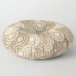 Geometric Mid Century Modern Burlap Circles Floor Pillow