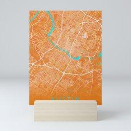 Austin, TX, USA, Gold, Blue, City, Map Mini Art Print