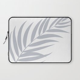 Light Pastel Gray White Coastal Frond Palm leaf Laptop Sleeve