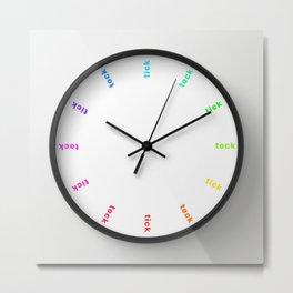 clock tick tock ~ colored ~ white Metal Print