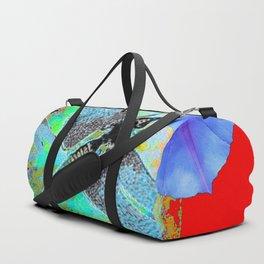 BLUE DRAGONFLIES MORNING GLORY RED WILDLIFE ART Duffle Bag